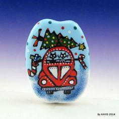 """HERE COMES CHRISTMAS !"" byKAYO a Handmade CAT Lampwork Art Glass Focal Bead SRA #Lampwork"
