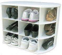 Shoe Swirl White Melamine via Etsy. Shoe storage to tuck away in the wardrobe?