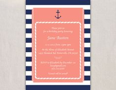 Printable Nautical Invitation: Birthday, Bridal Shower, Baby Shower - Navy Blue and Coral - 5x7