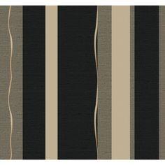 York Wallcoverings WH2723 Wallpap-Her Tempest Wallpaper Matte Black / Brushed Black / Golden Glitter Home Decor Wallpaper Wallpaper