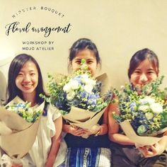 These 3 ladies were here for the Hipster Bouquet Floral Arrangement Workshop as part of a bridal shower    The lady on the far left is the soon-to-be bride whilst her 2 friends are throwing the bridal shower for her   It's nice to be partake in a joyous occasion and enjoy the much needed joy   #MojoAtelier #hipster #hipsterbouquet #eustoma #hydrangea #eucalyptus #floraldesign #floralarrangement #floralbouquetarrangement #craft #crafting #handcraft #handcrafted #madeinsg #madeinsingapore…