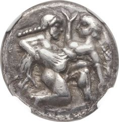 Satyr advancing right, carrying off protesting nymph / Quadripartite incuse square. Ancient Roman Coins, Ancient Romans, Ancient Greek, Thasos, Coin Art, Gold And Silver Coins, Antique Coins, Greek Art, Rare Coins