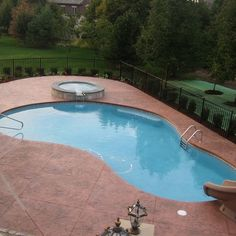 Stamped Concrete Pool Deck Design Ideas, Pictures, Remodel and Decor