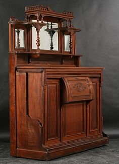 Antique Murphy Beds | 257: ANTIQUE VICTORIAN CARVED WALNUT MURPHY BED