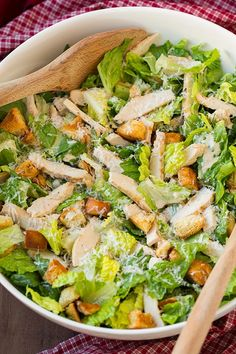 Chicken Caesar Salad with Garlic Croutons and Light Caesar Dressing | Cooking Classy
