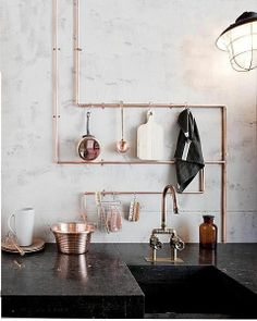 Copper exposed pipes