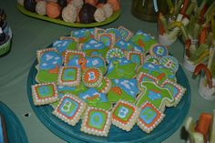 Dinosaur Baby Shower:  Vanilla Almond Sugar Cookies with Royal Icing.