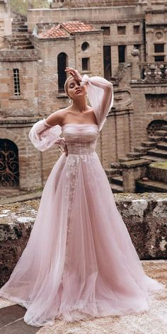 Color Trend: 18 Blush Wedding Dresses You Must See ❤ blush wedding dresses a line with sleeves strapless neckline dream and dress ❤ #weddingdresses #weddingoutfit #bridaloutfit #weddinggown