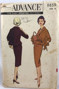 Advance 8859 Suit 1958 50s Sz12/32 complete fair printed cut  fragile some may be torn sld 45+fr 4bds 3/2/17