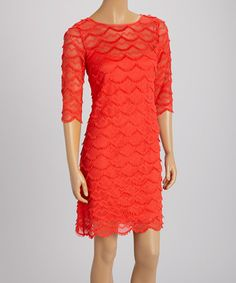 Look what I found on #zulily! Orange Scallop Fringe Shift Dress by Jessica Howard #zulilyfinds