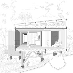 Gallery of Yellow House / Alejandro Soffia - 29 - Top Of The World Do Pi Ke Architecture Metal, Perspective Architecture, Romanesque Architecture, Cultural Architecture, Architecture Graphics, Classic Architecture, Residential Architecture, Sections Architecture, Drawing Architecture