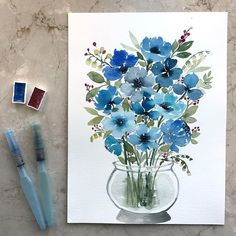No automatic alt text available. Watercolor Painting Techniques, Watercolor Projects, Watercolor Artwork, Watercolor Cards, Watercolor Print, Watercolor Flowers, Watercolour Illustration, Abstract Canvas Art, Floral Illustrations