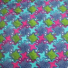 African Fabric Pink and blue fabric Blue Ankara by Urbanstax