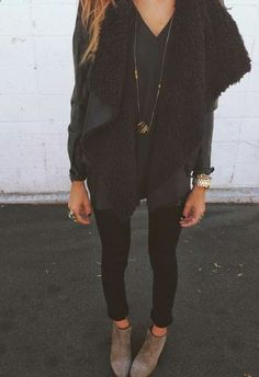 If the vest was a black faux fur vest than I would like this outfit even more. But this look is still soooo cute.