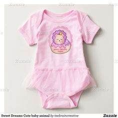 Fun girls baby shirt can be personalized with any child's name. This cute lion is the king of the jungle wearing a gold crown and cherry on top. A peaceful way to nap on sweet treats!