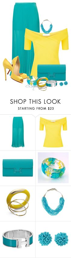 """Turquoise Maxi Skirt"" by ccroquer on Polyvore featuring Christian Louboutin, Sandro, Hermès, Bar III, Natasha and Humble Chic"