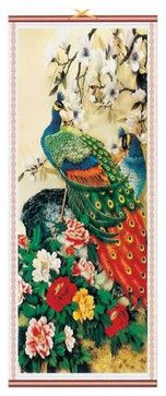 Rainbow Peacock Chinese Scroll Hanging