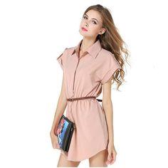 European code bursts of women's large size shirt dress lapel dress A word skirt photographed to send belt