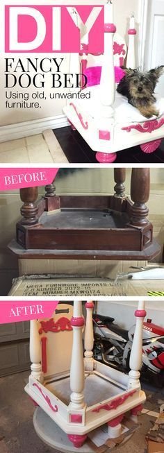 Flip a Goodwill table upside-down for the foundation of a fancy four-poster pet bed! Add a canopy for extra princess points.