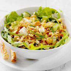 Orzo and Chickpea Salad with Lemon Dill Dressing, a recipe from the ATCO Blue Flame Kitchen's Holiday Collection 2015 cookbook. How To Cook Orzo, Dill Dressing, Arugula Salad, Chickpea Salad, Honey Mustard, Feta, Cabbage, Salads, Salad