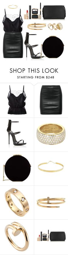 """""""The higher the heel, the closer to heaven"""" by au-revoirshoshanna ❤ liked on Polyvore featuring Fleur du Mal, The Row, Giuseppe Zanotti, Cartier, Elie Saab, Lana Jewelry and Estée Lauder"""
