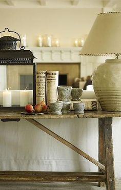 """elorablue: """" Southampton, NY Home-S. Gambrel Interior Design Design By Grosvenor Atterbury """" Rustic Console Tables, Rustic Table, Rustic Sofa, Sofa Tables, Trestle Tables, Couch Table, Table Lamp, Living Tv, Home And Living"""