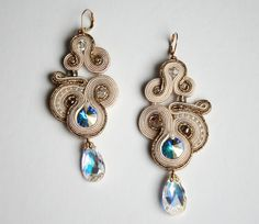 Diamonds are forever / soutache gold earrings with swarovski crystals