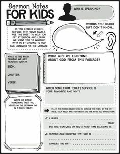 Notes for Kids Printables Help your kids learn to take notes during church with these sermon notes for kids!Help your kids learn to take notes during church with these sermon notes for kids! Bible Activities, Church Activities, Bible Study For Kids, Kids Bible, Sermon Notes, Kids Church, Church Ideas, Bible Lessons, Kids Ministry