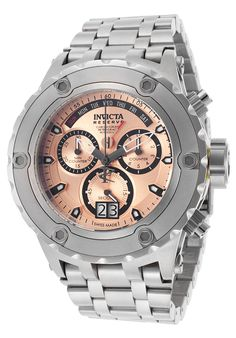 Invicta Reserve 17662 Men's Watch Chronograph Rose Dial Silver Stainless Steel