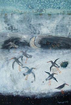 the art room plant: Ingebjorg Smith Bird Illustration, Illustrations, Moonlight Painting, Bird Art, Oeuvre D'art, Beautiful Birds, Cool Art, Natural, Art Photography