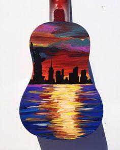 Painted Ukulele Custom Painted Ukulele New York Painting Ukulele Art, Guitar Art, Ukelele Painted, Painted Guitars, Guitar Painting, Diy Painting, Diy Arts And Crafts, Diy Crafts, Ukulele Design
