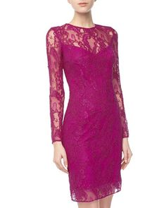 Long-Sleeve Lace Cocktail Dress, Fuchsia by Carmen Marc Valvo at Neiman Marcus Last Call.