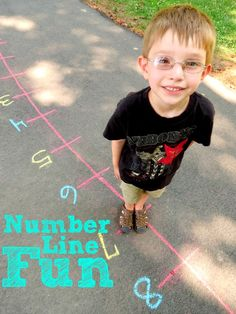 Number Line Fun at Childhood Beckons. Joyce has got loads of ideas for using a sidewalk chalk, kid-sized number line to make summer learning fun. Put on your sunscreen and head out to the blacktop for some math! Math For Kids, Fun Math, Math Activities, Math Games, Outdoor Activities, Math Classroom, Kindergarten Math, Teaching Math, Outdoor Learning