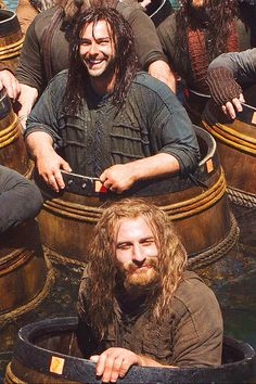 Aww! Fili's (Dean O'gorman) beard is out of control when wet apparently. But not even drowning can hurt Kili's (Aidan Turner) happy spirit.