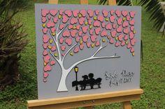 3d wedding guest book wedding guest book alternative guest book ideas Gray love bench alternatives custom tree guest book