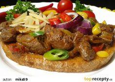 Topinka s pikantní játrovou směsí recept - TopRecepty.cz Hamburger, Toast, Beef, Recipes, Original Recipe, Cooking Recipes, Cooking, Meat, Recipies