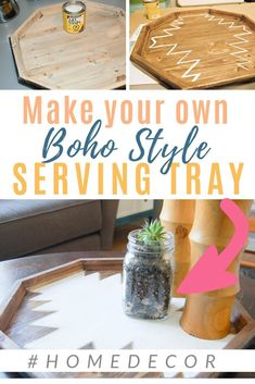 Boho decor inspiration with this DIY serving tray! Transform your home with bohemian style and a little bit of paint! Inexpensive Home Decor, Diy Home Decor On A Budget, Easy Home Decor, Easy Craft Projects, Easy Diy Crafts, Boho Diy, Boho Decor, Home Decor Paintings, Contemporary Home Decor
