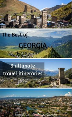 Three complete and unique travel itineraries in which you can see the best of Georgia (country) in 15 days. The routes include popular places, historical and cultural sites, and off-the-beaten-path destinations. Every route has a description on how to get to the places and where to stay.