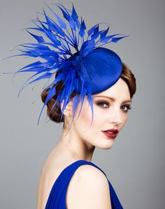 Royal blue claw feather hat