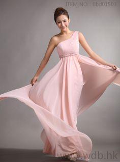 Fashion+one+shoulder+with+empire+waist+full+A-line+chiffon+bridesmaid+dress