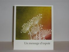 By Micheline Jourdain. Stamp flowers in VersaMark & heat emboss with white or clear powder. Sponge the background. The colors she used are so pretty!