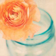 Fine art photography  - Nature flower vase image, Cottage style photography print -  blue orange floral peony. $28.00, via Etsy.