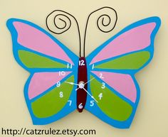 Butterfly Clock - Hand Painted Wood, Scroll Saw, Customize to make it your own $30