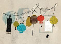 """detail of """"Lantern"""" repeat pattern by Dante Terzigni"""