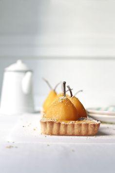 Pear & saffron tart.