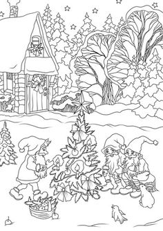 Christmas Gnomes Are Decorating A Tree Coloring Page From Elves Category Select 27362