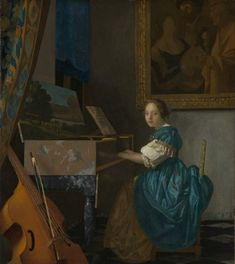 A LADY SEATED AT A VIRGINAL by Johannes Vermeer national gallery, London I would like to travel the world to see all the Vermeers