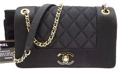 02facdd6c8b Chanel 2016 Collection Chain Black Satin/ Fiber Shoulder Bag 53% off retail