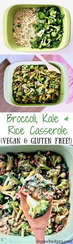 Broccoli, Kale & Rice Casserole Recipe (Vegan & Gluten Free) - a healthy yet hearty dish with plant-based protein that your whole family will enjoy!   veganchickpea.com