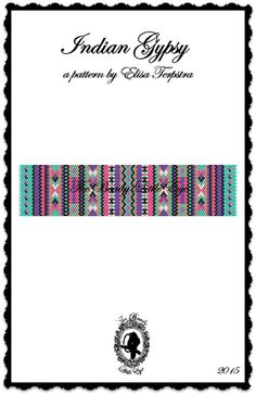 Peyote Pattern Bracelet Peyote Stitch Beading Patterns Native American Southwestern Indian Geometric Indian Gypsy Pattern